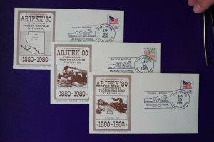 ARIPEX 1980 Philatelic show expo souvenir cachet cover set Tucson RR Centennial