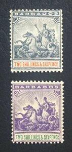 MOMEN: BARBADOS SG #114-115 1892-1903 MINT OG H LOT #60664