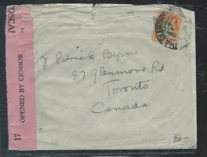 IRELAND (P0110B) 2D ORANGE OVPT CENSOR COVER TO CANADA MISSING BACK FLAP
