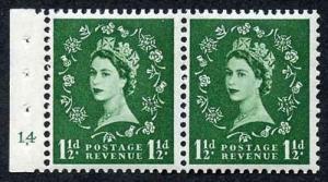 SB28 1 1/2d Green Wmk Edward Booklet Pane of Two Cyl 14 no dot U/M Superb Perfs