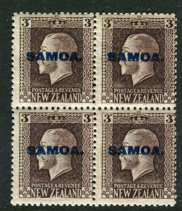 SAMOA; 1916 early NZ GV issue Optd. on 3d. Mint BLOCK of 4