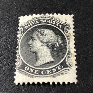 NOVA SCOTIA # 8a-MINT/HINGED-----BLACK---WHITE PAPER---1860-63(LOTB)