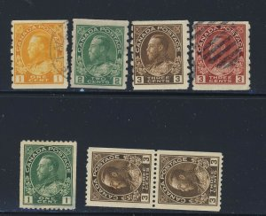 7x Canada Admiral Coil Stamps #126 #128 #129 #130 #131 #134 Pair GV = $60.00