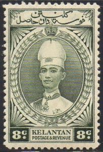 Kelantan 1937 8c grey-olive MH
