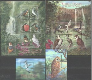 PK165 TUVALU FAUNA BIRDS OF TUVALU & THE SOUTH PACIFIC 2BL+2KB MNH STAMPS