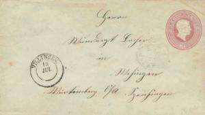 Germany Baden 3Kr Frederick I Envelope 1867 Villingen to Spaichingen.  Crease...
