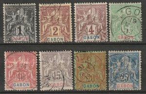 Gabon 1904 Sc 16-23 partial set used
