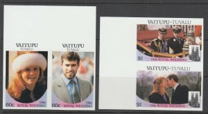 Vaitupu Sc 63-66 MNH. 1986 Royal Wedding, imperf sheet margin pairs