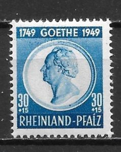 Germany (Rhine-Palatinate) 6NB9 3pf Goethe single MNH