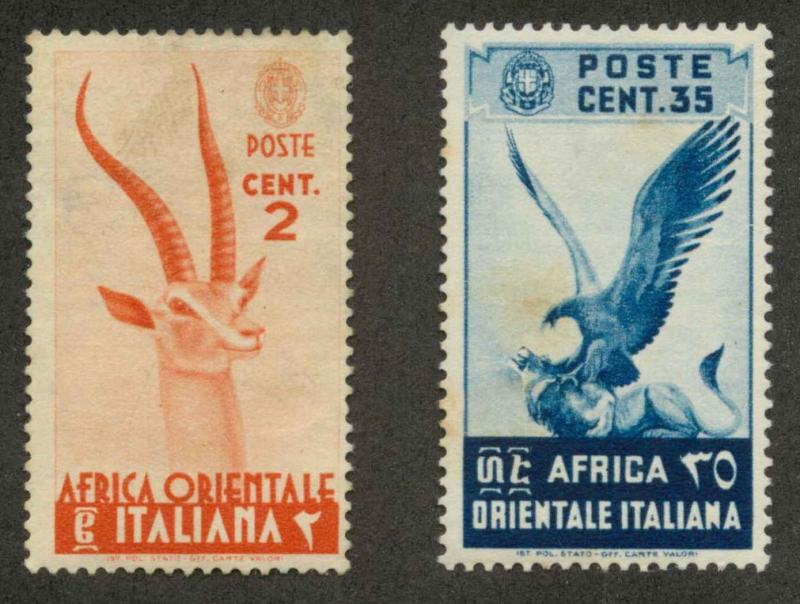 Italian East Africa 1 & 9 Mint VF H (1 th, 9 age spot)