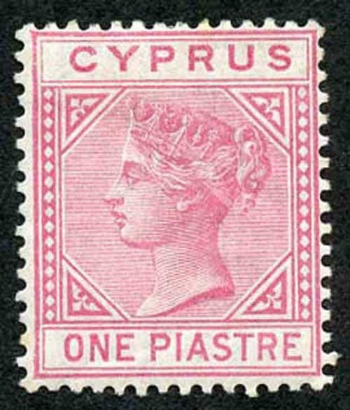 Cyprus SG12 1pi Rose Wmk Crown CC M/Mint (hinge remainder)