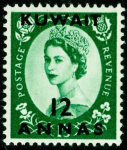 KUWAIT SG118, 12a on 1s 3d green, LH MINT.