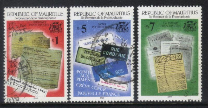 MAURITIUS  1993 5th SUMMIT OF FRENCH SPEAKING NATIONS 3 USED VALUES