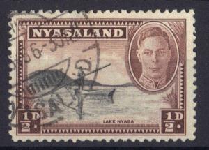 Nyasaland 1945  used  George  VI    1/2 d     #