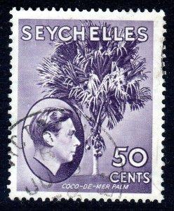 SEYCHELLES-- 1938- sg144b  -  50 cents  -bright lilac  - used -  £4.50