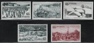 SWEDEN, 994-998, (5) SET, HINGED REMNANT, 1973, Ski racing