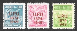 1950 CUBA, Scott # 449, 450, 451, Tobacco, Cigar, UPU overprint, M, LH, VF