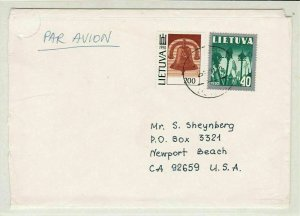 Lithuania 1991 to U S A Airmail Stamps Cover Ref 31136