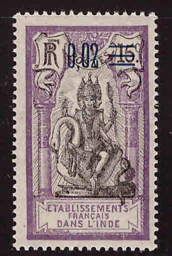 FRENCH INDIA  Scott 51 MH* surcharged  Brahma stamp