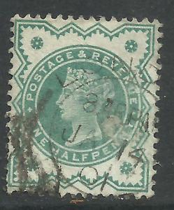 GB 1900 QV 1/2d Bluish green colour change SG 213 ( E147 )