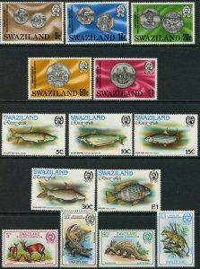 SWAZILAND Sc#333-337, 365-373 1979-80 Three Complete Sets OG Mint NH