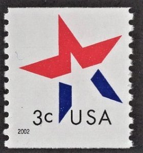 US 3615 MNH VF 3 Cent Star Coil Single
