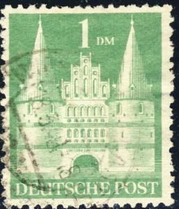 ALLEMAGNE / GERMANY Bizone 1948 Mi.97.aYIB(97.Iwg) 1DM T.1 p.11 - VF Used (b)