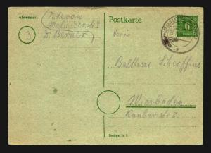 Germany 1945 6Pf Local Stationery Cover Used / Ni# P66 - Z14102
