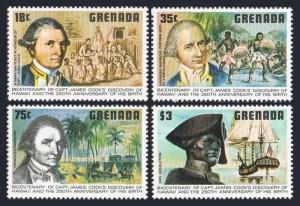 Grenada 895-898,MNH.Michel 936-939. Capt James Cook,arrival in Hawaii,200.1978.