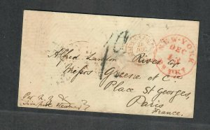 Transatlantic Ship Stampless Cover 1854 NY To Paris France