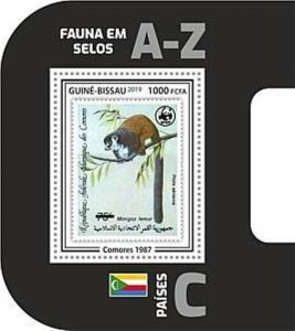 Guinea-Bissau - 2019 WWF Fauna Stamp on Stamp - Souvenir Sheet - GB190403b07