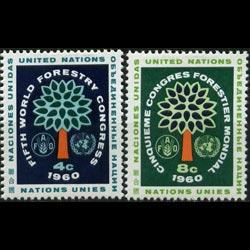 UN-NEW YORK 1960 - Scott# 81-2 Forestry Cong. Set of 2 LH