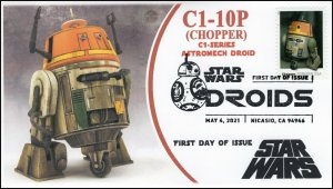 21-099, 2021,Star Wars Droids, C1-1OP, Chopper, First Day Cover, B/W Pictorial