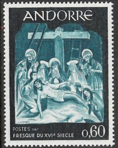 ANDORRA FRENCH ADMIN 1967 60c The Descent From the Cross Sc 180 MNH