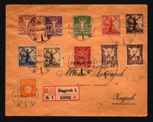 Yugoslavia 1919 Zagreb Registered Cover / Sm Top Tear - Z18620