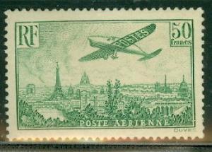 FRANCE #C14 50fr Airmail, high value in set, og, NH, VF, Scott $1,500.00