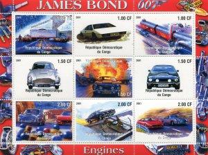 JAMES BOND 007 CARS Sheet Perforated Mint (NH)