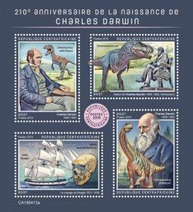 C A R - 2019 - Charles Darwin - Perf 4v Sheet - MNH