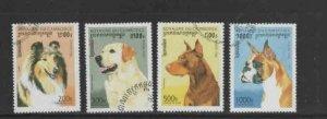 CAMBODIA #1564-1568 1996 DOGS MINT VF NH O.G CTO