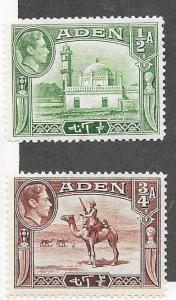 Aden #16-17  George VI issues (MH)  CV $4.75