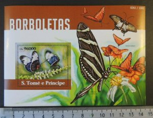 St Thomas 2015 butterflies insects flowers s/sheet mnh #2