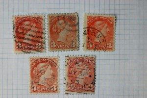 Canada sc# 37 37c 37e red Bright Orange color shade variety 1893 SOTN OTTAWA