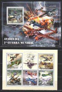Sao Tome and Principe. 2010. 4321-25, bl744. Military aircraft. MNH.
