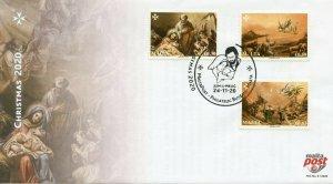 Malta Christmas Stamps 2020 FDC Nativity Angels Shepherds Magi 3v Set