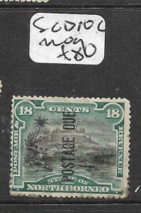 NORTH BORNEO (P2703B)  POSTAGE DUE 18C MOUNTAIN SG D10C  MOG