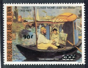 Benin 1982 CLAUDE MONET Paintings Ovpt. New Value Perforated Mint (NH)