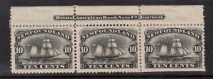 Newfoundland #59 VF Mint Imprint Strip Of Three