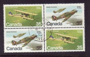 Canada-Sc#876a-used 35c setenant pair in block of 4-Planes-Aircraft-1980-id127-