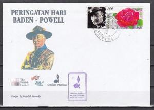 Indonesia, Scott cat. 1945a. Rose with Baden Powell Label. First day cover.