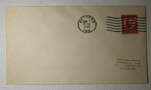 US FDC Sc# 690 Used On Cover Bedford IN 1932 Blank Event Cover NOT FDC
